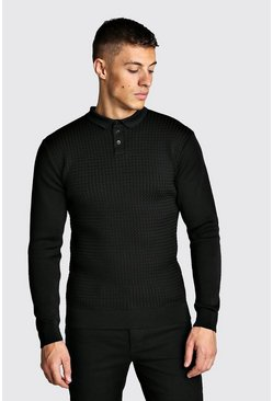 Black Muscle Fit Knitted Polo With Textured Body