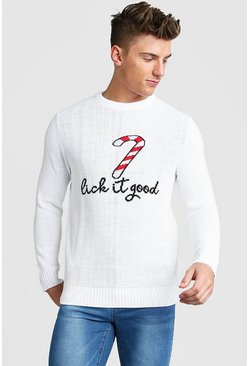 Candy Cane Slogan Christmas Jumper, White, HOMMES