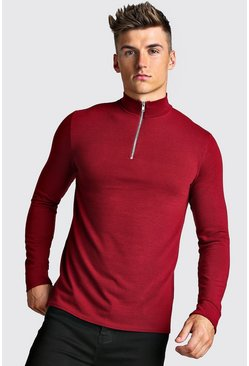 Mens Burgundy Half Zip Funnel Neck Jumper