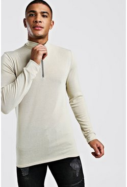 Half Zip Funnel Neck Jumper, Camel