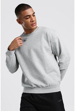 Mens Grey Basic Crew Neck Sweatshirt