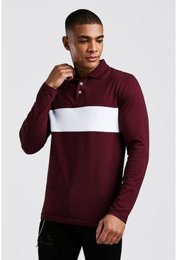 Colour Block Muscle Fit Long Sleeve Polo, Burgundy