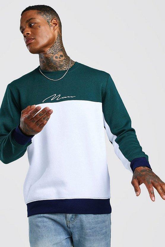 Multi Colour Block Man Signature Sweater by Boohoo Man