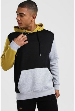 Yellow Multi Colour Block Hoodie