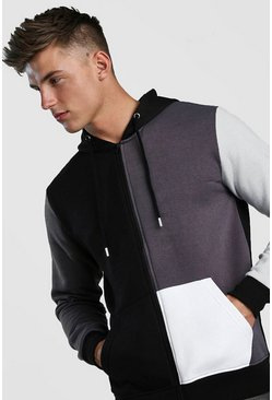 Charcoal Multi Colour Block Hoodie