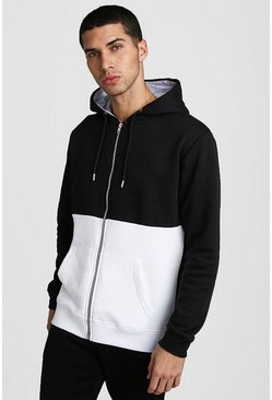 Colour Block Hoodie, Black
