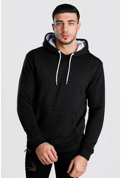 Colour Block Hoodie With Contrast Hood, Black