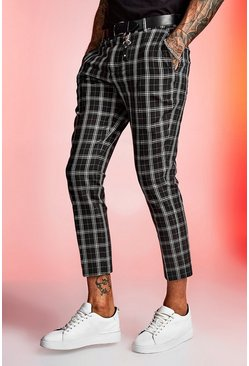 Mono Tartan Cropped Smart Trouser, Black
