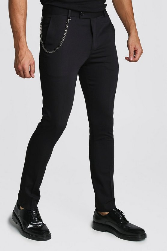 Plain Skinny Fit Smart Trouser With Chain by Boohoo Man