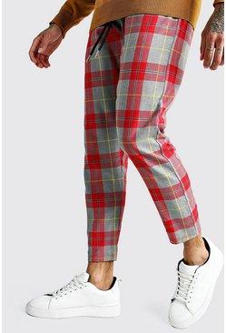 Grey Large Scale Tartan Smart Jogger Pants