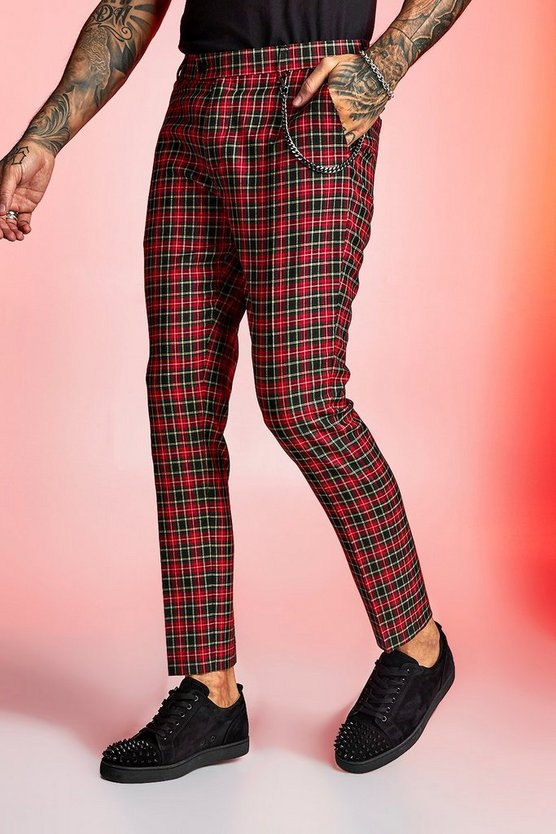 True Tartan Chain Detail Cropped Trouser by Boohoo Man