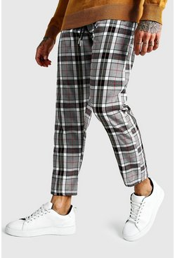 Mens Charcoal Large Scale Check Cropped Smart Jogger Trouser