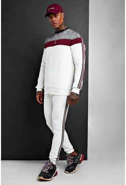 White Colour Block Jacquard Sweater Tracksuit With Tape
