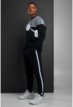 Black Colour Block Jacquard Sweater MAN Tape Tracksuit