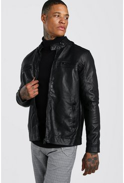 PU Biker Jacket With Zip Pockets, Black