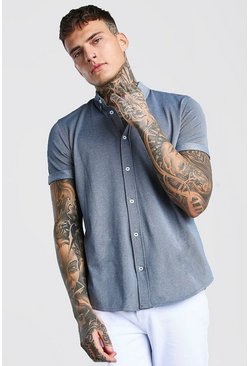 Blue Short Sleeve Regular Collar Pique Shirt