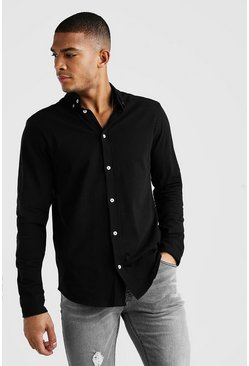 Black Long Sleeve Regular Collar Pique Shirt With Cuff