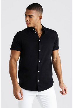Black Short Sleeve Grandad Jersey Shirt