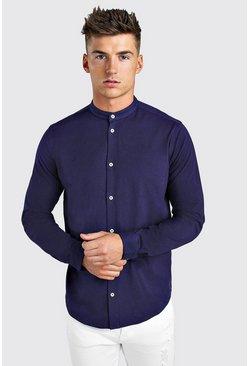 Navy Long Sleeve Grandad Jersey Shirt With Cuff