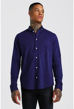 Navy Long Sleeve Regular Collar Jersey Shirt With Cuff