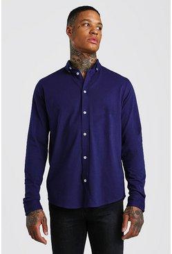 Navy Long Sleeve Regular Collar Jersey Shirt With Cuff