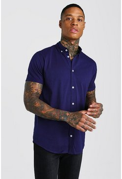Navy Short Sleeve Regular Collar Jersey Shirt
