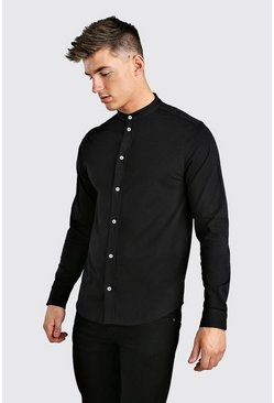 Long Sleeve Grandad Jersey Shirt With Cuff, Black