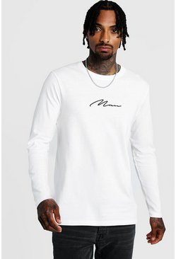 Mens White Long Sleeve MAN Signature T-Shirt