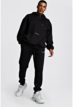 Official MAN Back Print Loose Fit Hooded Tracksuit, Black, HERREN