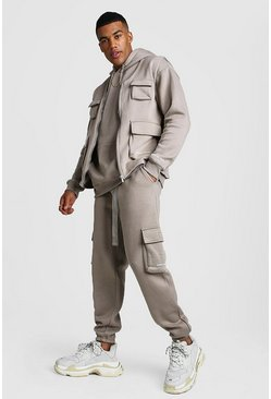 Mens Taupe Official MAN 3 Piece Utility Set With Buckles