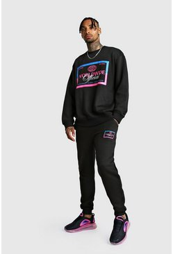 Mens Black MAN Print Loose Fit Sweater Tracksuit