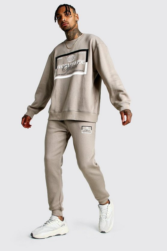 Mens Taupe MAN Print Loose Fit Sweater Tracksuit