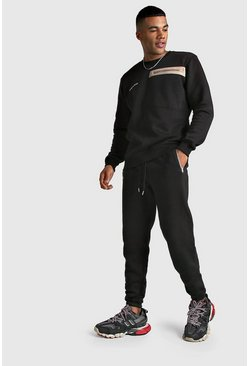 MAN Official Utility Sweater Tracksuit, Black, HERREN