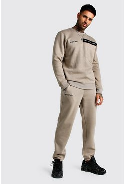 MAN Official Utility Sweater Tracksuit, Taupe, HERREN
