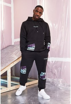 Mens Black MAN Printed Hooded Tracksuit