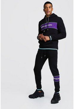 Official MAN Contrast Panel Hooded Rib Tracksuit, Black, HERREN