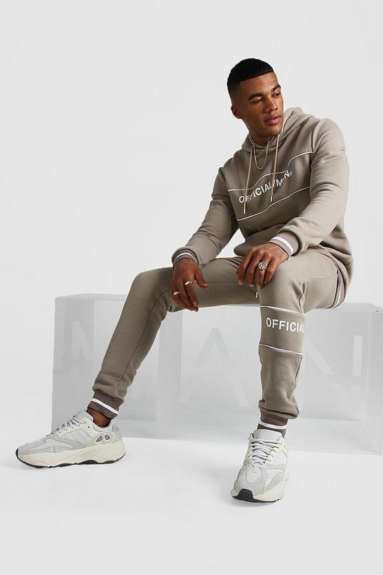 Taupe Official MAN Contrast Panel Hooded Rib Tracksuit