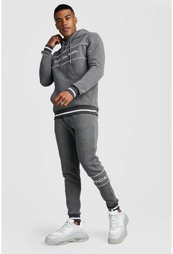 Mens Charcoal Official MAN Contrast Panel Hooded Rib Tracksuit