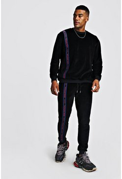 Mens Black Velour Sweater Tracksuit With MAN Tape
