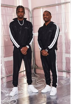 Mens Black MAN Signature High Shine Hooded Tape Tracksuit