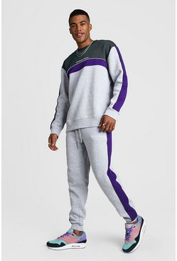 Official MAN Colour Block Loose Fit Sweater Tracksuit, Grey, HERREN