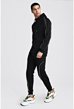 Black MAN Signature Hooded Reflective Piping Tracksuit