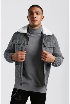 Grey Wool Look Trucker Jacket With Borg