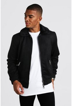 Black Faux Suede Jacket with Faux Fur Collar