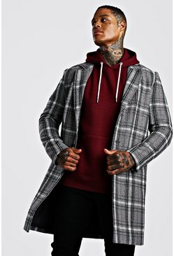 Grey Check Wool Look Overcoat