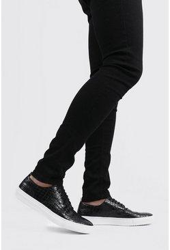 Black Faux Croc Lace Up Sneakers