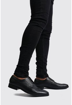 Black Faux Leather Lace Up Brogues