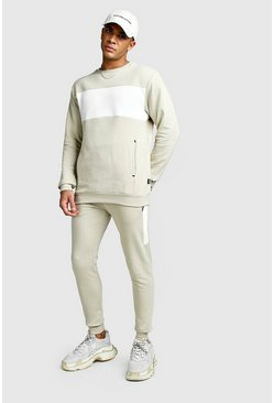 Taupe Skinny Fit Contrast Chest Panel Pocket Tracksuit