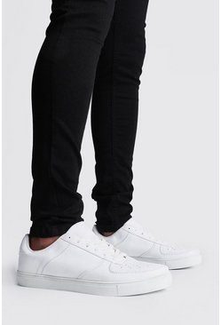 White Lace Up Perforated Toe Sneaker