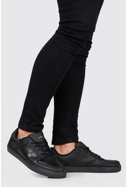 Black Lace Up Perforated Toe Sneakers